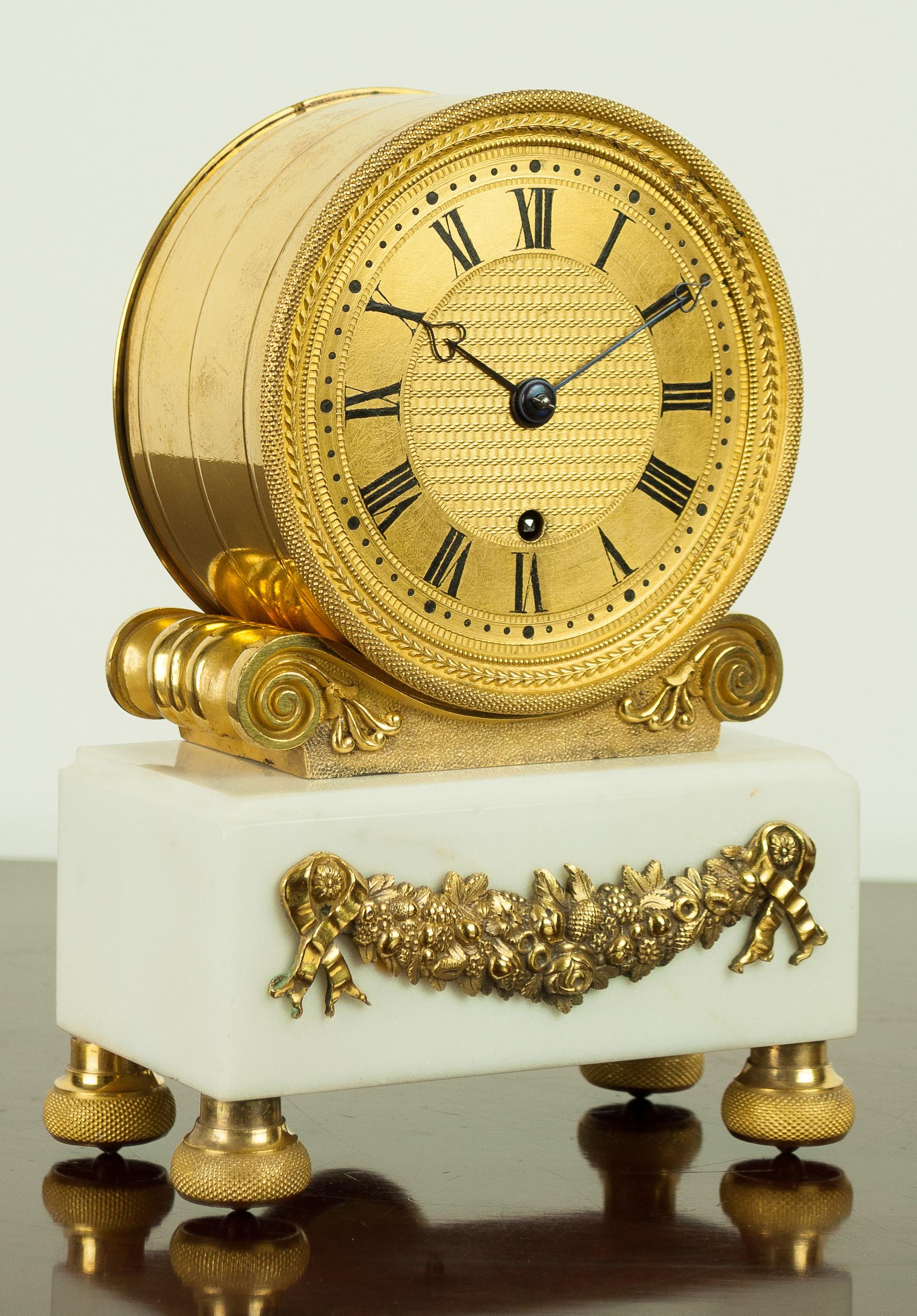 English Fusee Mantel Clock